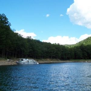 Big Boat Anchored on the shore of the Allegheny Reservoir